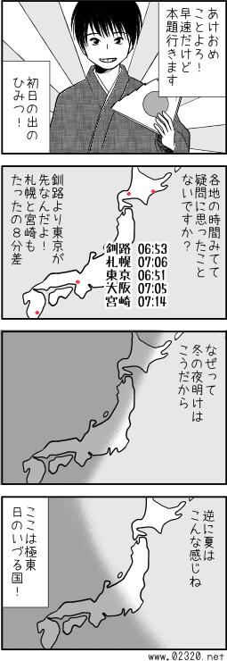 初日の出の時刻は釧路や札幌よりも東京の方が早いのです。(夏は違う)