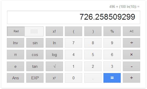 3番目の完全数と、10の100乗の自然対数の和