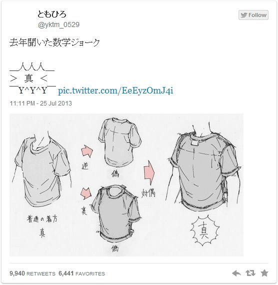 去年聞いた数学ジョーク シャツを対偶に着ると「真」