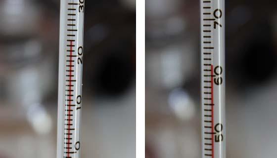 水とお湯の温度をそれぞれ測る