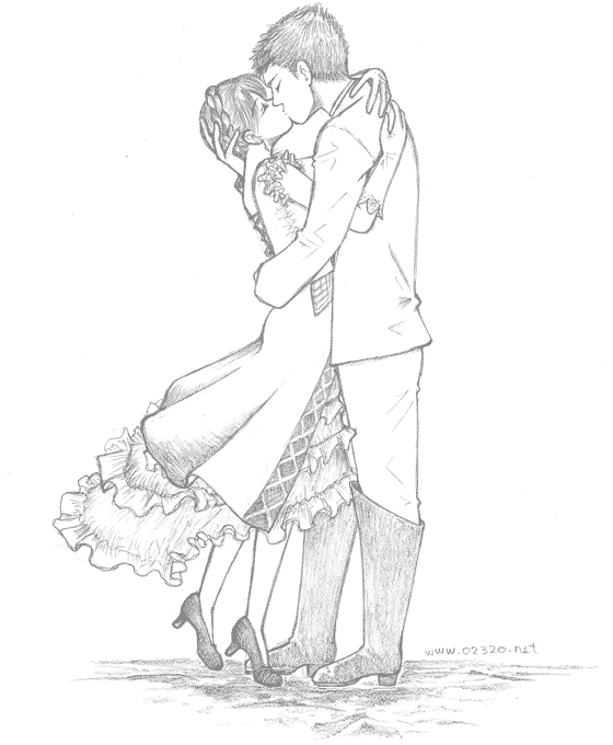 Pencil Drawing, Kissing Lovers, 抱き合ってキスをする恋人