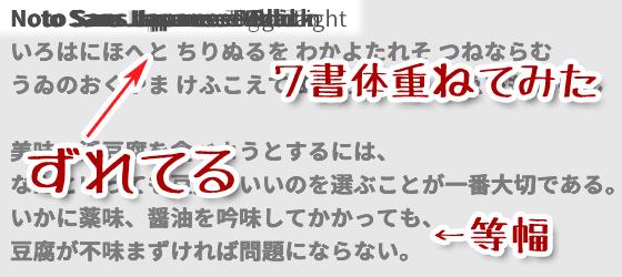 Notoの日本語部分は等幅フォント