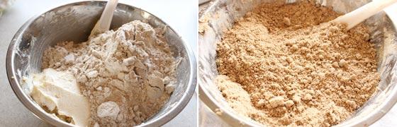 バタークリームに小麦粉とはったい粉を混ぜる