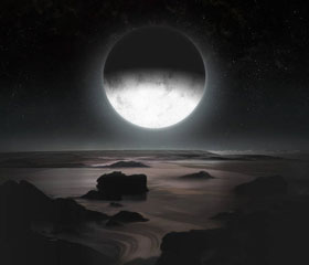 冥王星から見たカロン