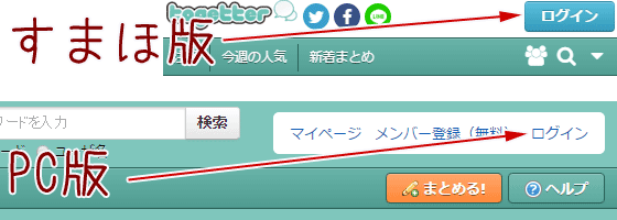 Togetterにログインする