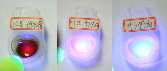 クロロフィル抽出液にLEDを照射