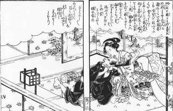 速水春暁斎・画『絵本小夜時雨』巻五より「阿州の奇女」