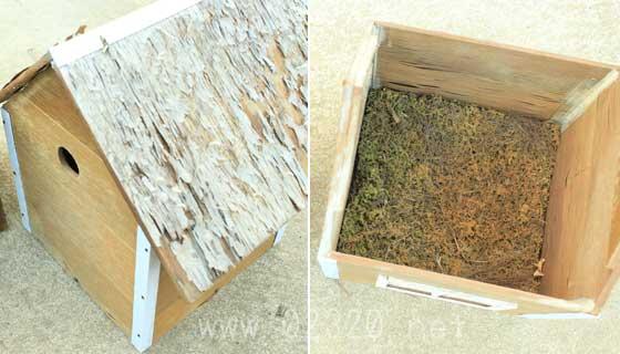 シジュウカラの巣箱と巣材