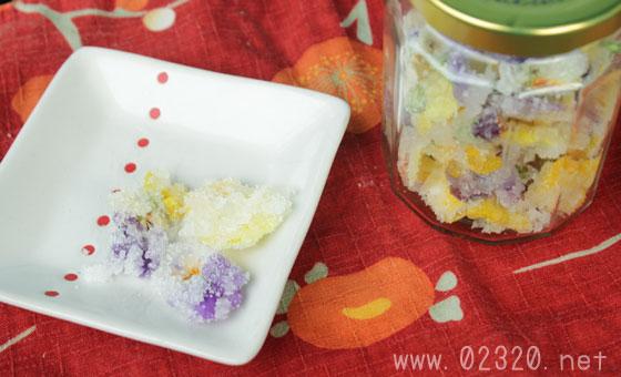 スミレの砂糖漬けをビオラで作るレシピが色とりどりですごく綺麗