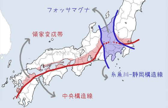 糸魚川構造線と中央構造線