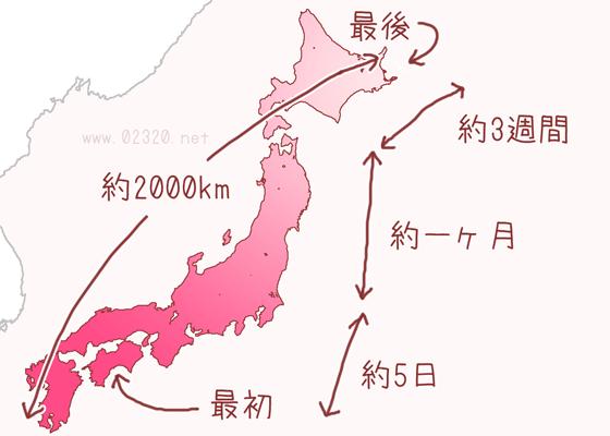 桜前線の評価区間